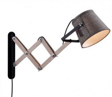 Design Wandleuchte, moderne Wandlampe aus Holz mit einem Textil Lampenschirm, Ø 24 cm