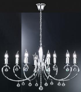 Design Kronleuchte, chrom, Glasbehang, oval 83 x 60 cm