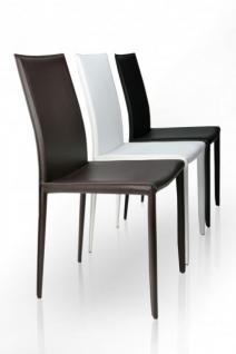 Stuhl aus echt Leder in drei Farben: weiss, schwarz und braun