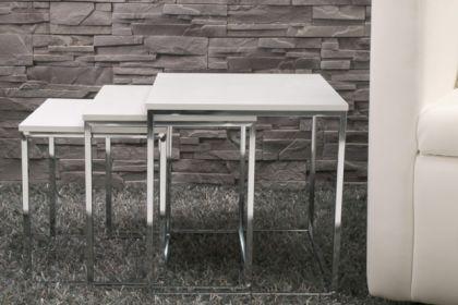 moderner Couchtisch, 3er Set in weiß