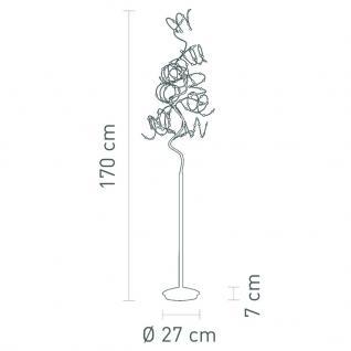 Stehleuchte Metall satin Kristall transparent modern + Dimmer - Vorschau 2