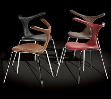 Design Stuhl mit Echtleder und Kunstleder-Bezug, verchromten Stuhlbeinen in vier Farben - Vorschau 1