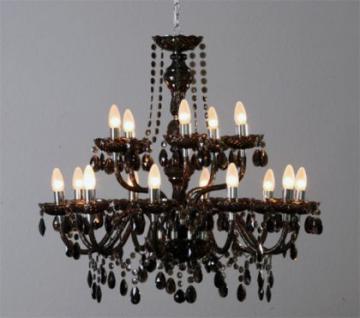 Kronleuchter, klassisch fünfzehn-armig, Farbe schwarz aus Acryl-Glas