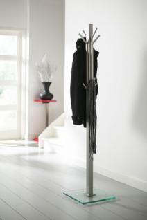 Garderobenständer, Standgarderobe aus Edelstahl und Glas, Höhe 185 cm - Vorschau