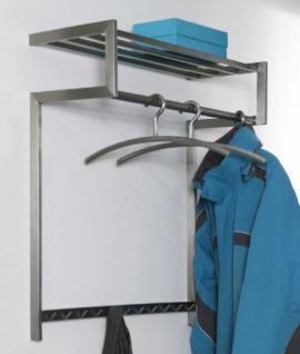 Wandgarderobe aus Edelstahl, moderne Garderobe mit 11 Haken, Kleiderstange und Ablage, Breite 80 cm