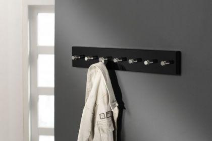 Wandgarderobe schwarz, Garderobe mit 7 Haken aus Edelstahl, Breite 60 cm