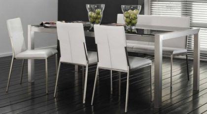 Design Esszimmerstuhl mit Bezug-Lederoptik, Stuhl gepolstert, Farbe weiss