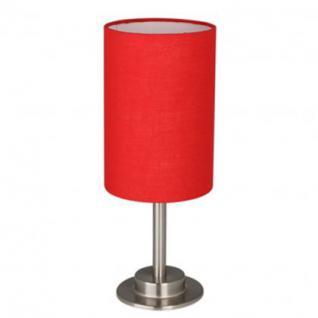 Tischleuchte Metall satin Textilschirm: weiß/ braun/ rot oder grau modern rund Zylinderform - Vorschau 3