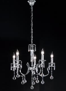 Design Kronleuchte, silber, Chrom, Glasbehang, Durchmesser 63 cm