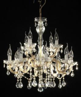 Klassischer Kronleuchter aus Glas, in zwei Farben, gold und silber transparent
