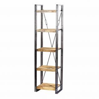 Regal mit fünf Böden aus Massivholz im Industriedesign, Bx160 und Hx200 cm - Vorschau 2