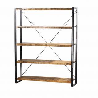 Regal mit fünf Böden aus Massivholz im Industriedesign, Bx160 und Hx200 cm - Vorschau 1
