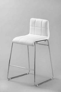 Design Barstuhl mit Chrom Gestell, Stuhl Lederoptik, Farbe schwarz - Vorschau 2