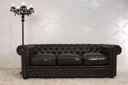 Sofa Landhaus Style 3er dark coffee mit Nietenbesatz - Vorschau 2