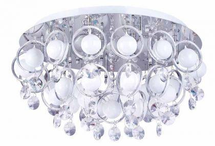 Design Deckenleuchte, Chrom mit Kristallbehang 60 cm