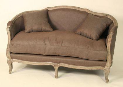Sofa mit 2 Sitzflächen im Landhausstil, Eiche alt/ Bezug in braun