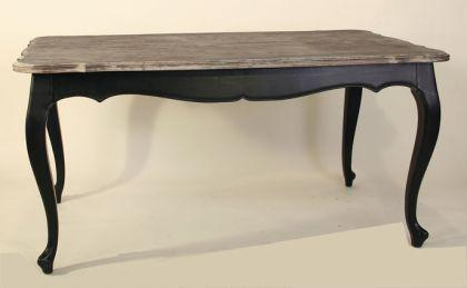Tisch im Landhausstil, Eiche natur in schwarz