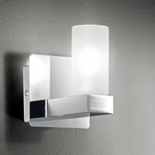 Design Wandleuchte, Badezimmer, silber, weiß, Glas, Höhe 11 cm