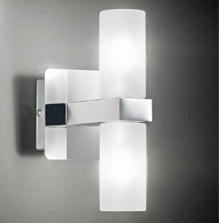 Design Wandleuchte, Badezimmer, silber, weiß, Glas, Höhe 17 cm