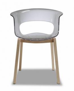 Design Stuhl Kunststoff Sitz Holz Buche schwarz transparent - Vorschau 1