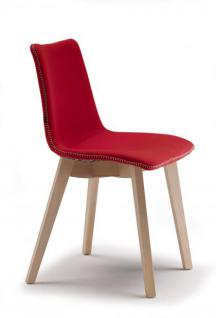 Design stuhl natural holz buche rot sitz gepolstert for Design stuhl rot