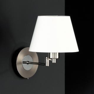 Design Wandleuchte, silber, Schirm weiß, Höhe 30 cm - Vorschau