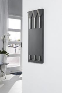 Wandgarderobe, Garderobe mit drei Edelstahlhaken, Farbe grau matt, Breite 36 cm - Vorschau