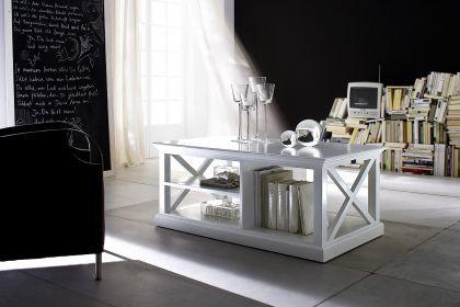 Couchtisch im Landhausstil mit Einlageboden in weiß