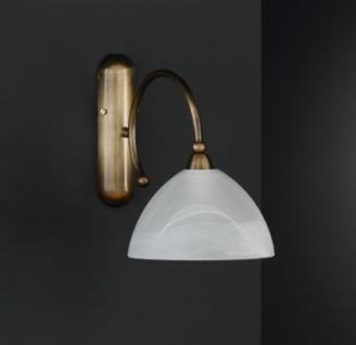 Design Wandleuchte, altmessing, Schirm weiß, Höhe 23 cm - Vorschau