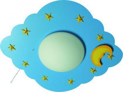 Kinder Deckenleuchte, blau in zwei weitern farben, Sterne, Mond