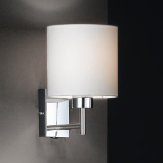 Design Wandleuchte, silber, Schirm weiß, rund, Höhe 25 cm