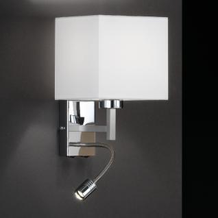 Design Wandleuchte, silber, Schirm weiß, eckig, LED, Höhe 28 cm