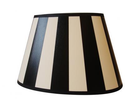 lampenschirm klassisch oval 20 cm und 25 cm schwarz creme wei gestreift kaufen bei richhomeshop. Black Bedroom Furniture Sets. Home Design Ideas