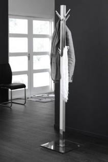 Garderobenständer verchromt mit einem Standfuß aus Glas, Standgarderobe mit acht Hacken, Höhe 185 cm