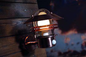 Wandleuchte Metall kupfer Glas Outdoor Bewegungssensor