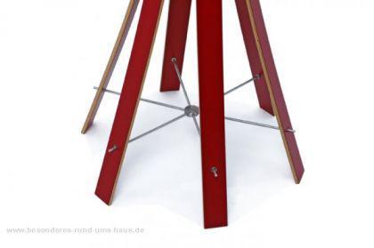 Garderobenständer aus Holz massiv und Edelstahl, moderne Garderobe mit Hacken aus Edelstahl, Ø 48 cm - Vorschau 3