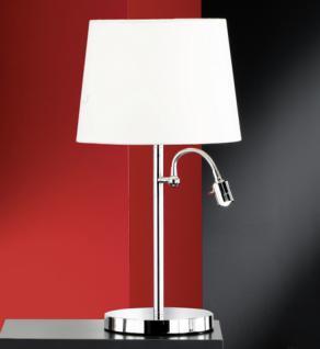 Design Tischleuchte, chrom, Schirm weiß Ø 30 cm, Lesearm - Vorschau