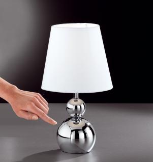 Design Tischleuchte, silber, Schirm weiß, Touch, Höhe 32 cm