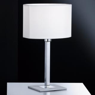 Design Tischleuchte, chrom/aluminiumfarbig matt, Schirm oval - Vorschau