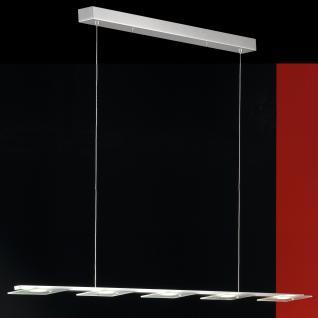 Design LED Pendelleuchte, Glas, chrom/matt, Breite 115 cm