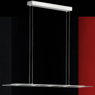 Design LED Pendelleuchte, Glas, chrom/matt, Breite 98 cm