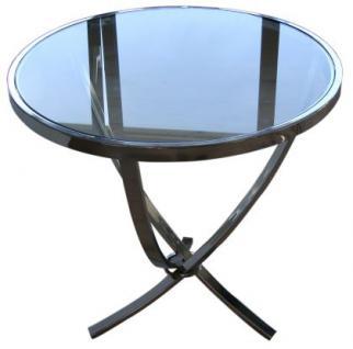 verchromter beistelltisch mit eine glasplatte 60 cm hoch kaufen bei richhomeshop. Black Bedroom Furniture Sets. Home Design Ideas