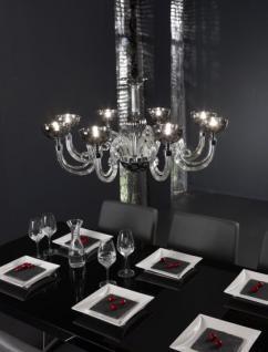 Kronleuchter mit 8-flammig, Hängeleuchte aus Glas, Acryl, verchromt, Ø 77 cm
