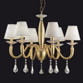 Kronleuchter Metall gold, Harz Goldblatt, Kristall transparent, Stoff weiß