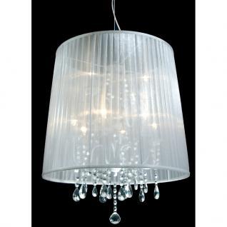 Pendelleuchte Metall chrom Organza weiß Kristall transparent modern klassisch dimmbar - Vorschau 1