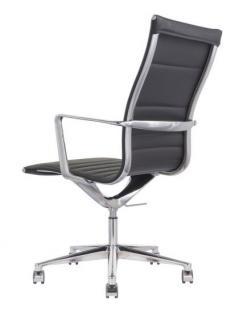 Designer Chefsessel mit Echtleder bezogen, Farbe schwarz - Vorschau 3