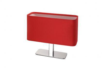 Tischleuchte Metall chrom Textil rot modern