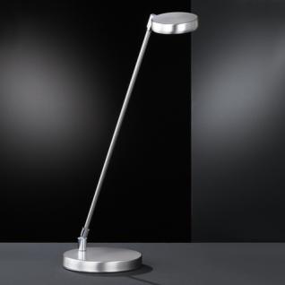 Design Tischleuchte, mattnickel/chrom, Höhe bis 52 cm verstellbar