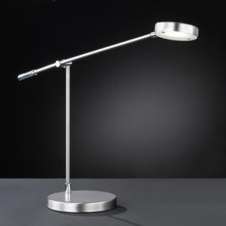 Design Tischleuchte, mattnickel/chrom, Höhe bis 62 cm verstellbar