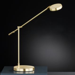 Design Tischleuchte, mattmessing/messing poliert, Höhe bis 62 cm verstellbar